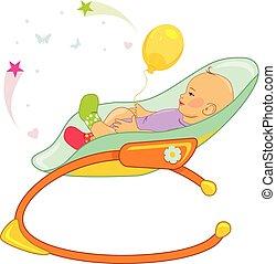 bebê, cadeira balanço