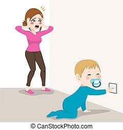 bebê, cansado, tomada, mãe, perigo