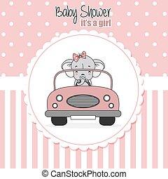 bebê, card., car, dirigido, chuveiro, menina, elefante