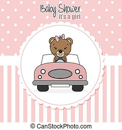 bebê, card., car, dirigido, chuveiro, menina, urso
