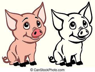 bebê, caricatura, porca