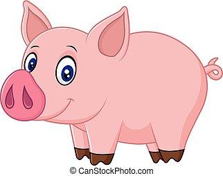 bebê, caricatura, porca, cute