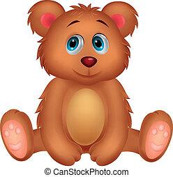 bebê, caricatura, urso, cute