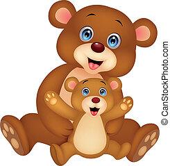 bebê, caricatura, urso, mãe