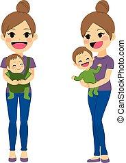 bebê, carregar, mãe