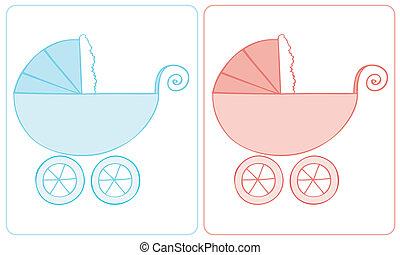 bebê, carriage.