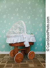 bebê, carriage., decorado, sala, pré-escolar