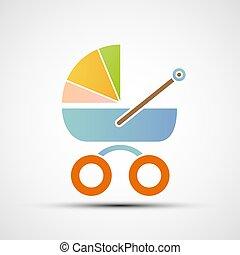 bebê, carriage., estoque, illustration.