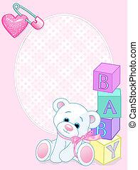 bebê, cartão, chegada, cor-de-rosa