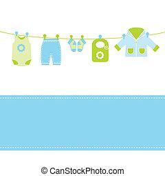 bebê, cartão, chegada