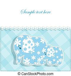 bebê, cartão, elefantes