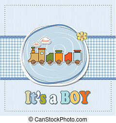 bebê, cartão, menino, brinquedo, chuveiro, trem
