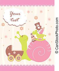 bebê, chegada, cartão, anúncio