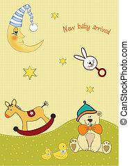 bebê, chegada, cartão