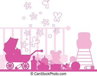 bebê, chegada, e, anúncios, cartão, cobrança