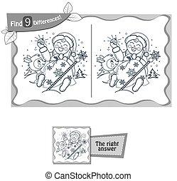 bebê, claus, achar, jogo, santa, diferenças, 9