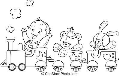 bebê, coloração, trem, brinquedo, página