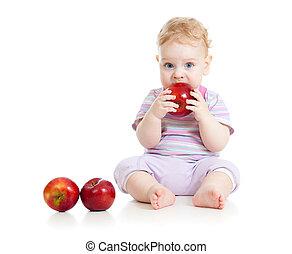 bebê, comer saudável, alimento, isolado