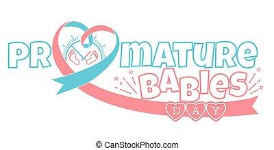 bebê, conceito, dia, prematuro