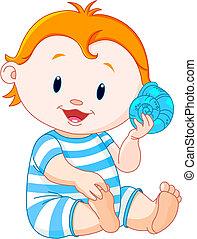 bebê, concha, mar, escutar
