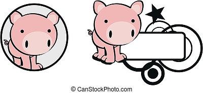 bebê, copysapce, caricatura, porca