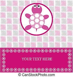 bebê, cor-de-rosa, tartaruga, cartão