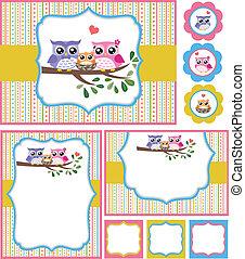 bebê, coruja, chuveiro, cartão, ilustração