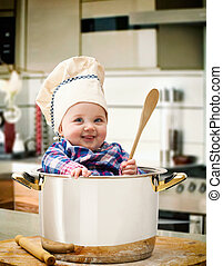 bebê, cozinheiro, em, um, acere panela