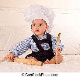 bebê, cozinheiro