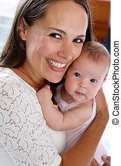 bebê, cute, abraçar, feliz, mãe