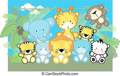 bebê, cute, animais, safari