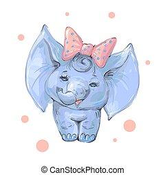 bebê, cute, branca, isolado, menina, arco, elefante
