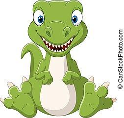 bebê, cute, caricatura, dinossauro