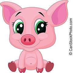 bebê, cute, caricatura, porca