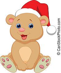 bebê, cute, caricatura, urso, sentando