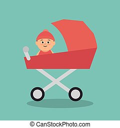 bebê, cute, carreta