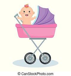bebê, cute, carrinho criança