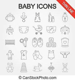 bebê, cute, cobrança, icons.