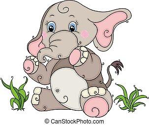 bebê, cute, elefante, capim, sentando
