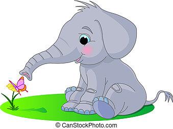 bebê, cute, elefante