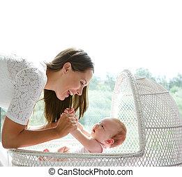 bebê, cute, feliz, tocando, mãe