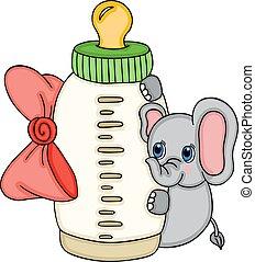 bebê, cute, garrafa leite, elefante