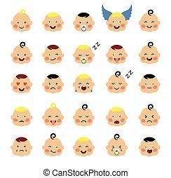 bebê, cute, jogo, emoticons.