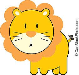 bebê, cute, leão