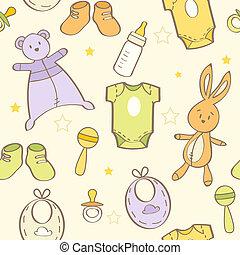 bebê, cute, mão, fundo, desenhado