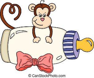 bebê, cute, macaco, garrafa, leite