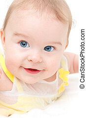bebê, cute, menina, branca, isolado