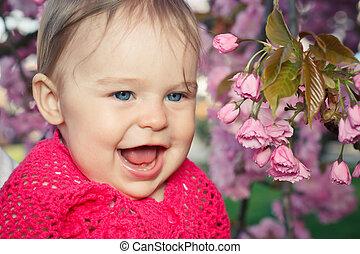 bebê, cute, menina sorridente