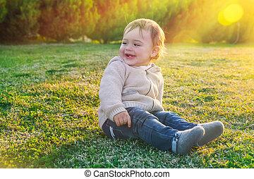 bebê, cute, menino, ao ar livre