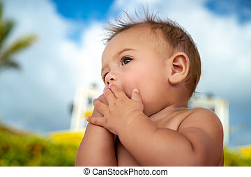 bebê, cute, pequeno, ao ar livre
